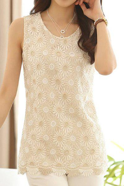 Fashionable Scoop Neck Floral Embroidery Tank Top For Women 120590103