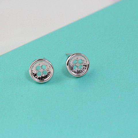 Pair of Sweet Cute Women's Round Button Shape Earrings - SILVER