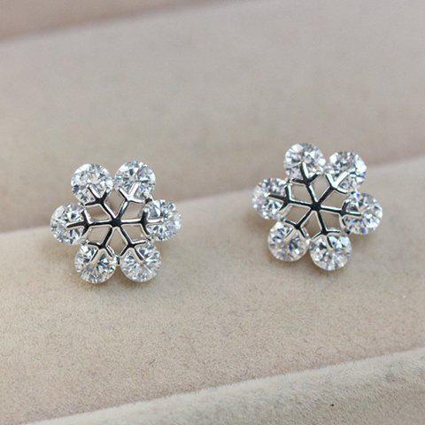 Pair of Delicate Chic Women's Rhinestone Openwork Floral Earrings - SILVER