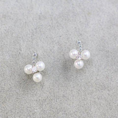 Pair of Sweet Cute Women's Rhinestone Faux Pearl Floral Earrings - SILVER