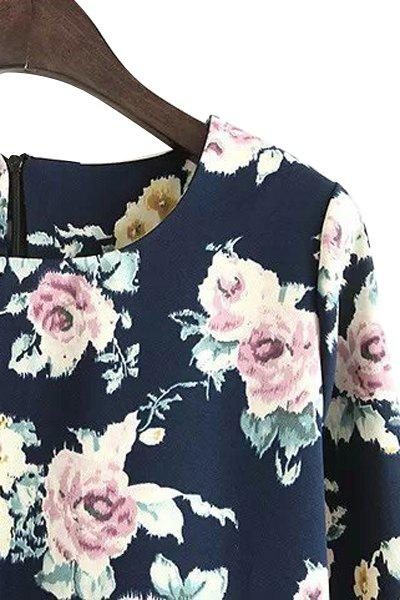 Ladylike Style Scoop Neck Long Sleeve Floral Print Women's Dress - CADETBLUE M