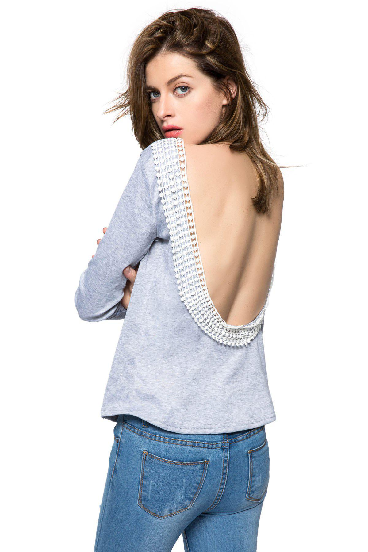 Sexy Round Collar Long Sleeve Backless Spliced Women's T-Shirt