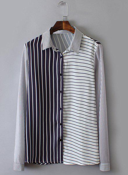 Polo Collar Stripe Color Block Fashionable Long Sleeve Shirt For Women - BLUE/WHITE S