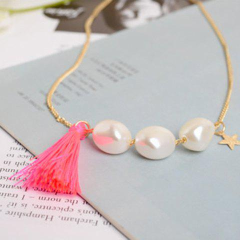 Chic Women's Faux Pearl Star Tassel Pendant Sweater Chain Necklace