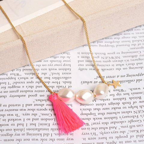 Stylish Chic Women's Faux Pearl Star Tassel Pendant Sweater Chain Necklace - COLOR ASSORTED