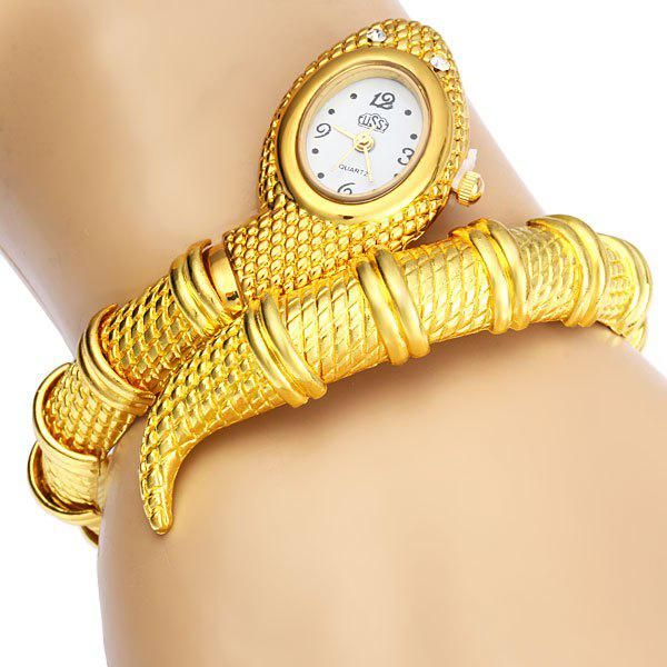 Stylish Snake Patterned Steel Wristwatch Bracelet Watch with Golden Dial for Female (Golden) -