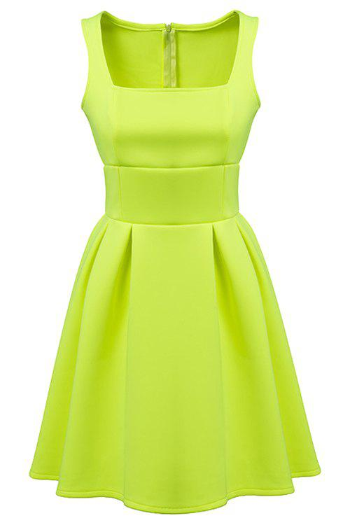 Simple Style Square Collar Sleeveless Solid Color A-Line Women's Dress - GREEN S