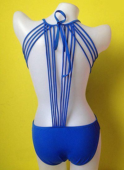Sexy Scoop Collar Backless Solid Color Lace-Up One-Piece Women's Swimwear - SAPPHIRE BLUE M