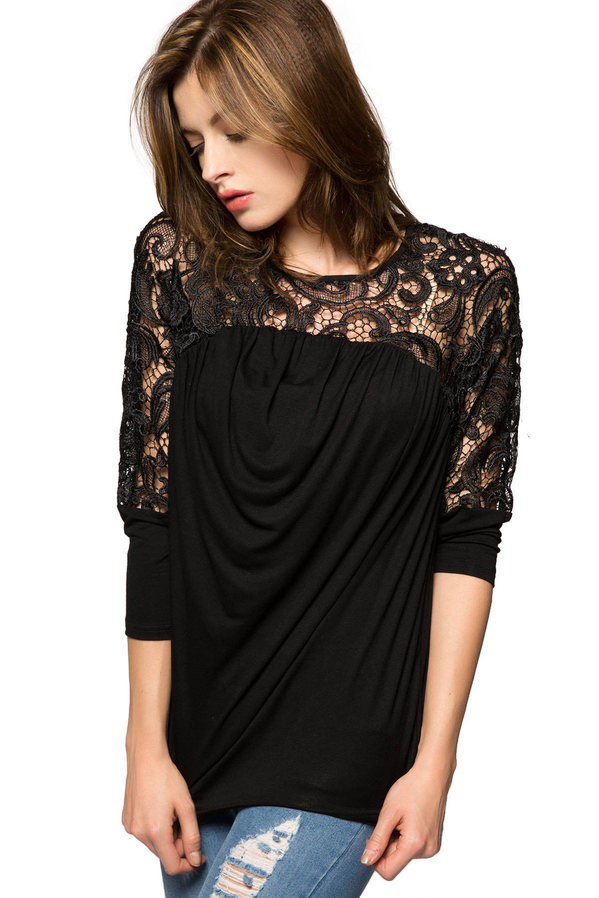 Fashionable Scoop Collar Nine-Minute Sleeve Lace Splicing Women's Blouse - BLACK XS