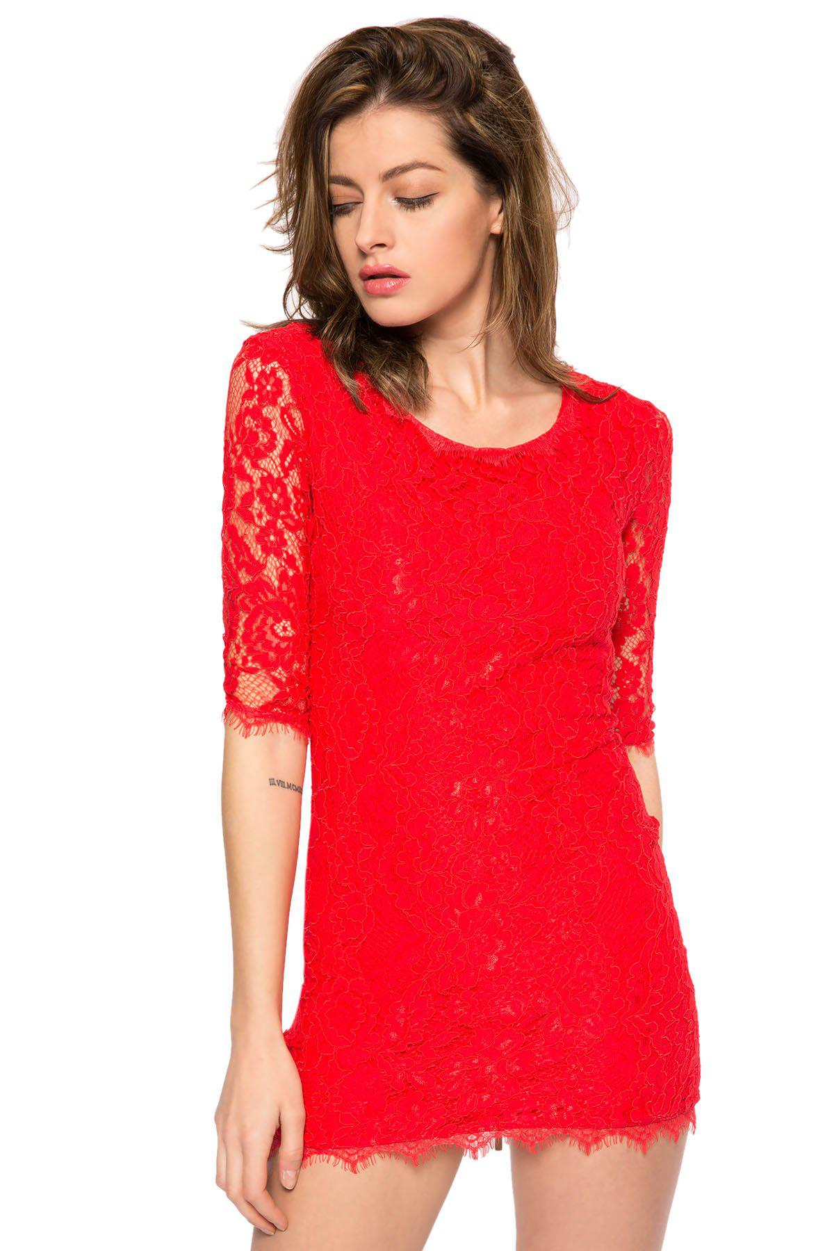 Trendy Style Scoop Collar 3/4 Sleeve Solid Color Slimming Women's Lace Dress - RED L