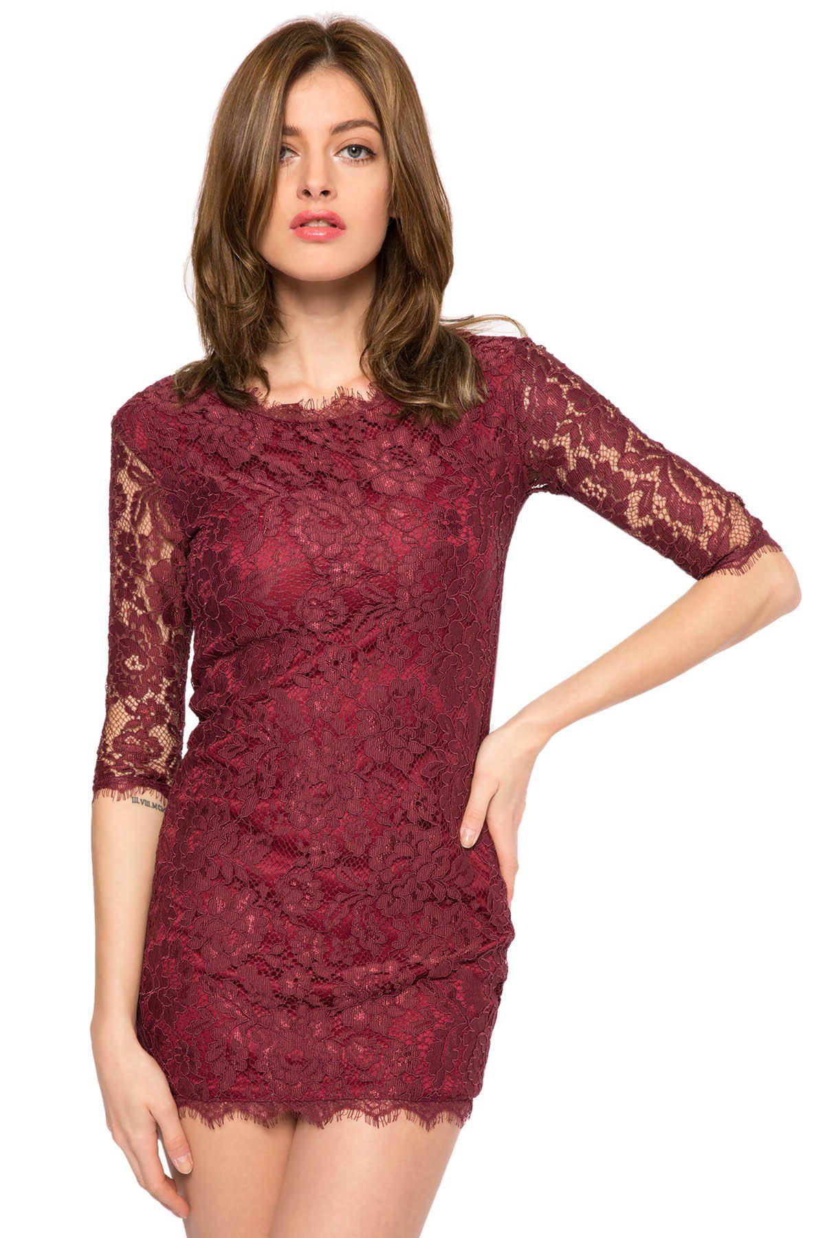 Trendy Style Scoop Collar 3/4 Sleeve Solid Color Slimming Women's Lace Dress - DEEP PURPLE L