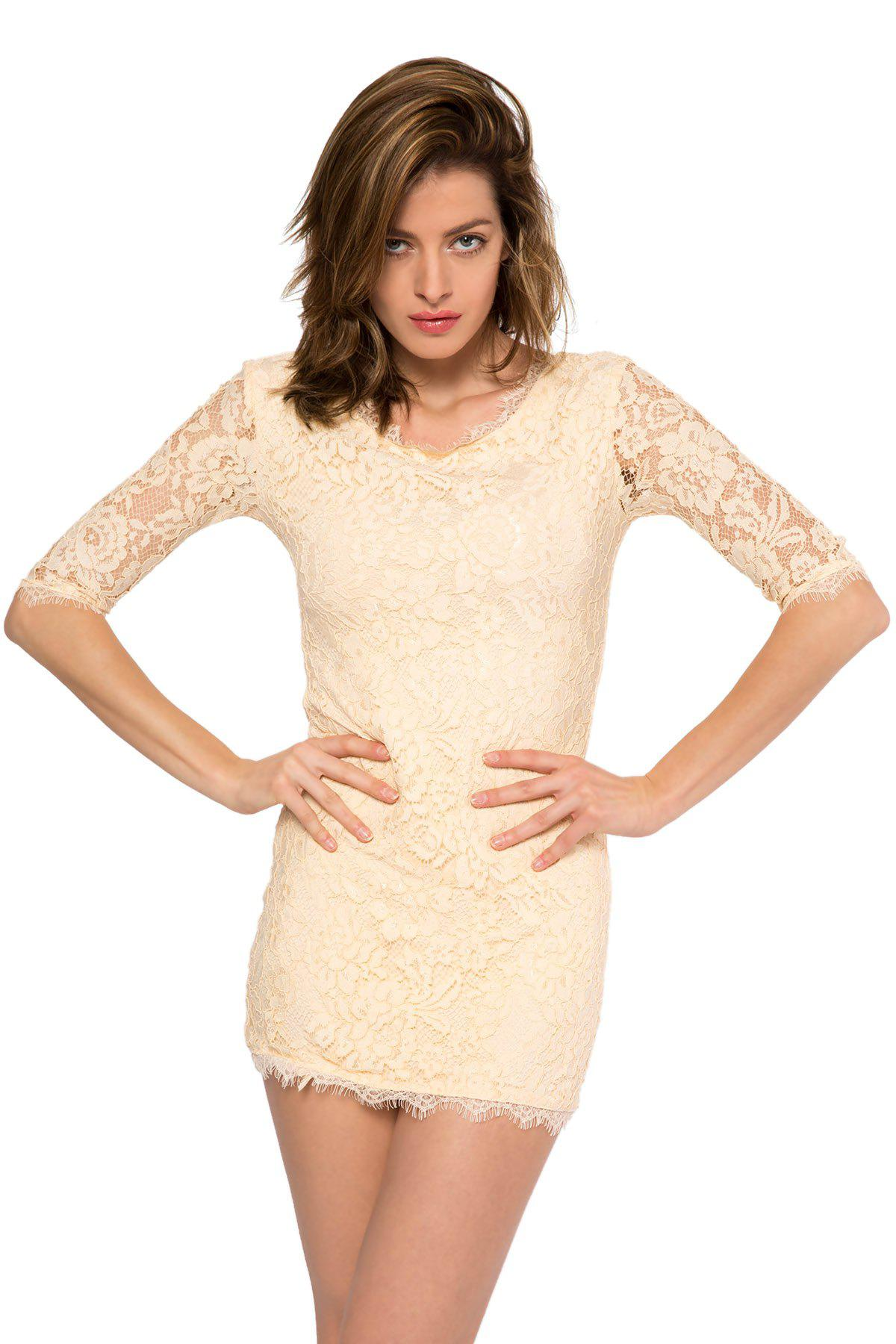Trendy Style Scoop Collar 3/4 Sleeve Solid Color Slimming Women's Lace Dress - BEIGE L