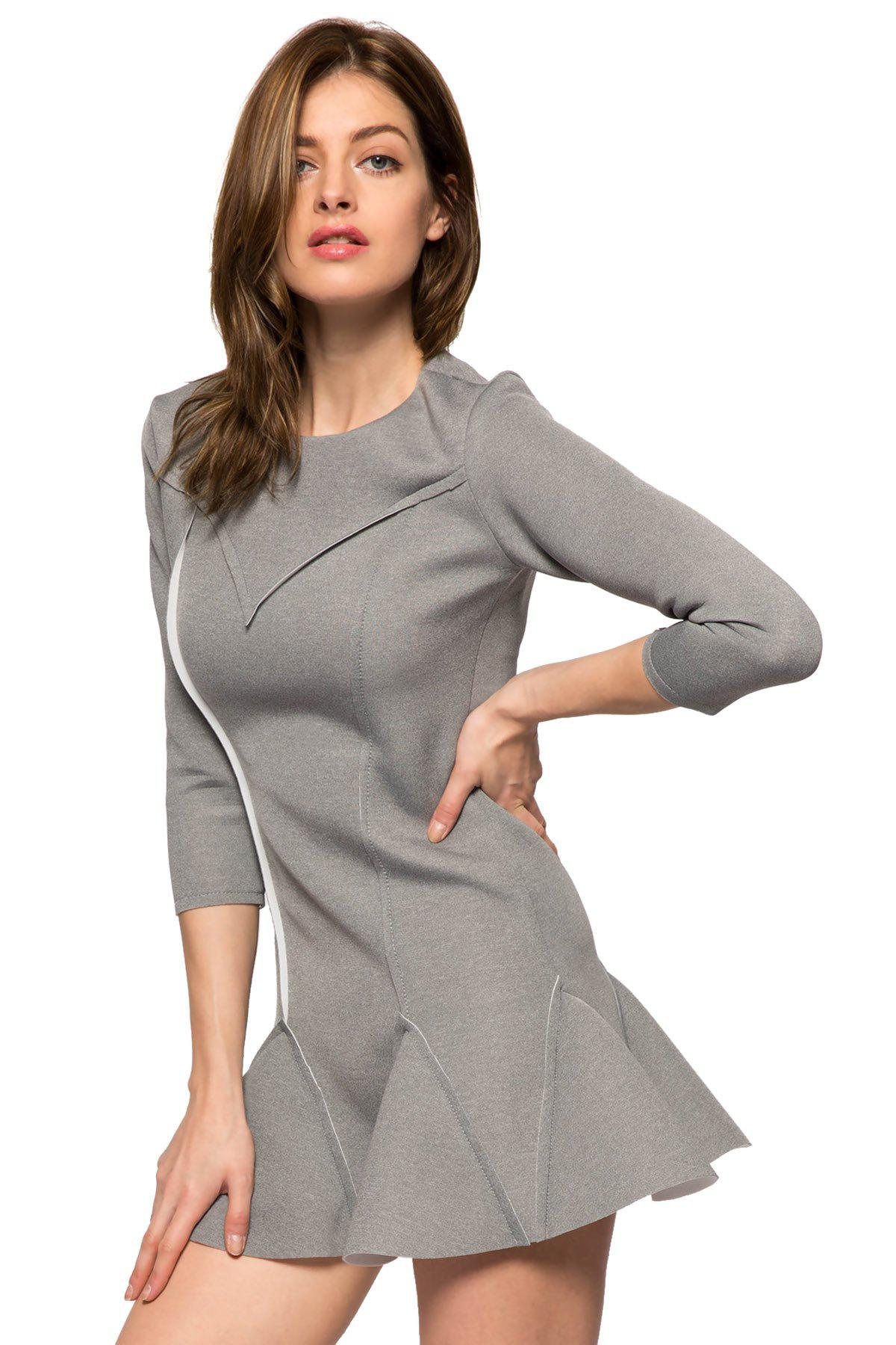 Trendy Style Round Collar 3/4 Sleeve Solid Color Ruffles Splicing Women's Dress - GRAY XL