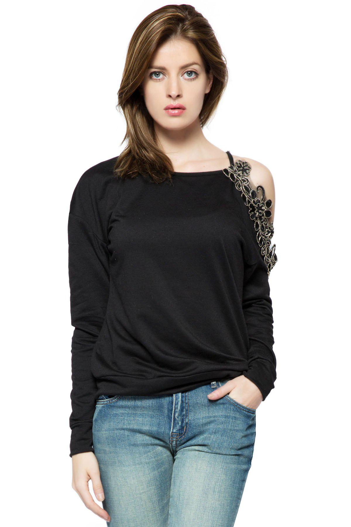 Stylish Round Collar Long Sleeve Floral Embroidery Off-The-Shoulder Women's Sweatshirt - BLACK XS