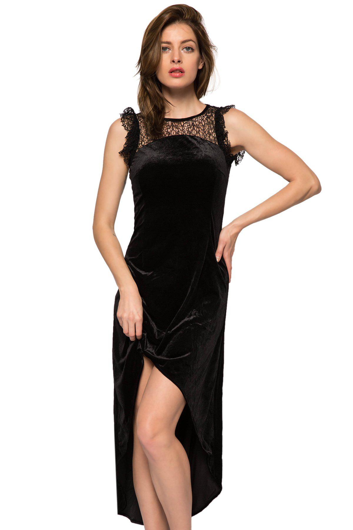Fashionable Round Collar Sleeveless Lace Splicing High-low Hem Women's Dress - BLACK XS