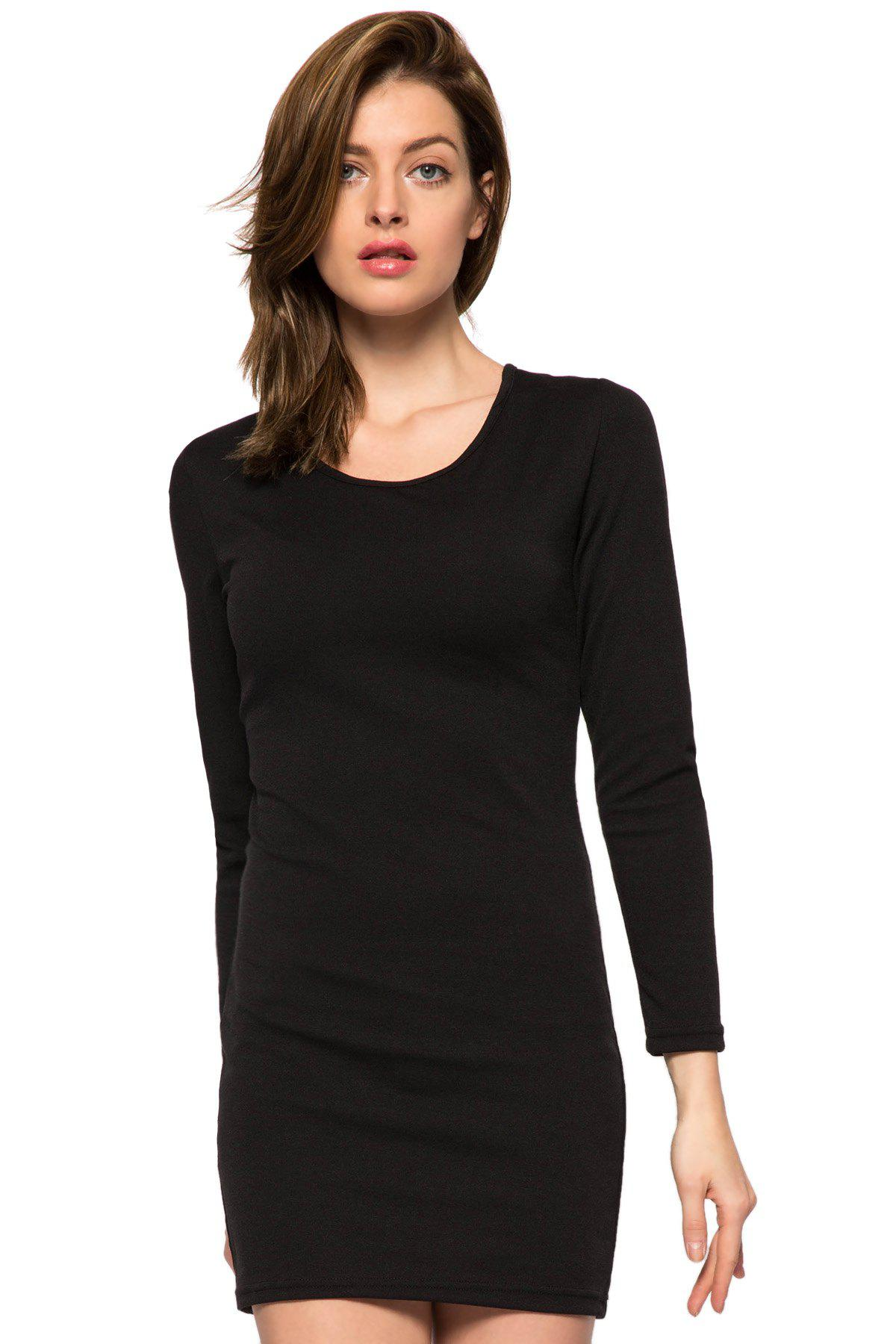 Fashionable Scoop Collar Long Sleeve Black Hollow Back Slimming Women's Dress - BLACK L