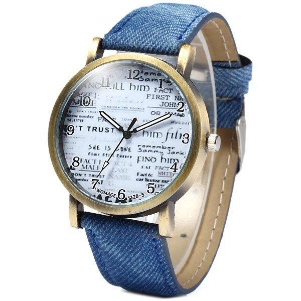 WoMaGe 1128-5 Female Quartz Watch Round Dial with Words Leather Band - BLUE
