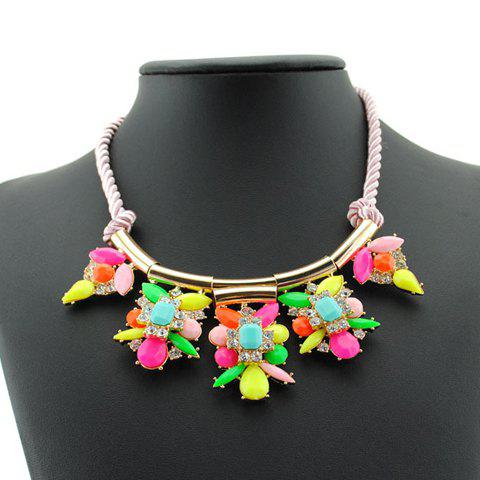 Sweet Cute Women's Rhinestone Colored Flower Pendant Rope Chain Necklace - PINK