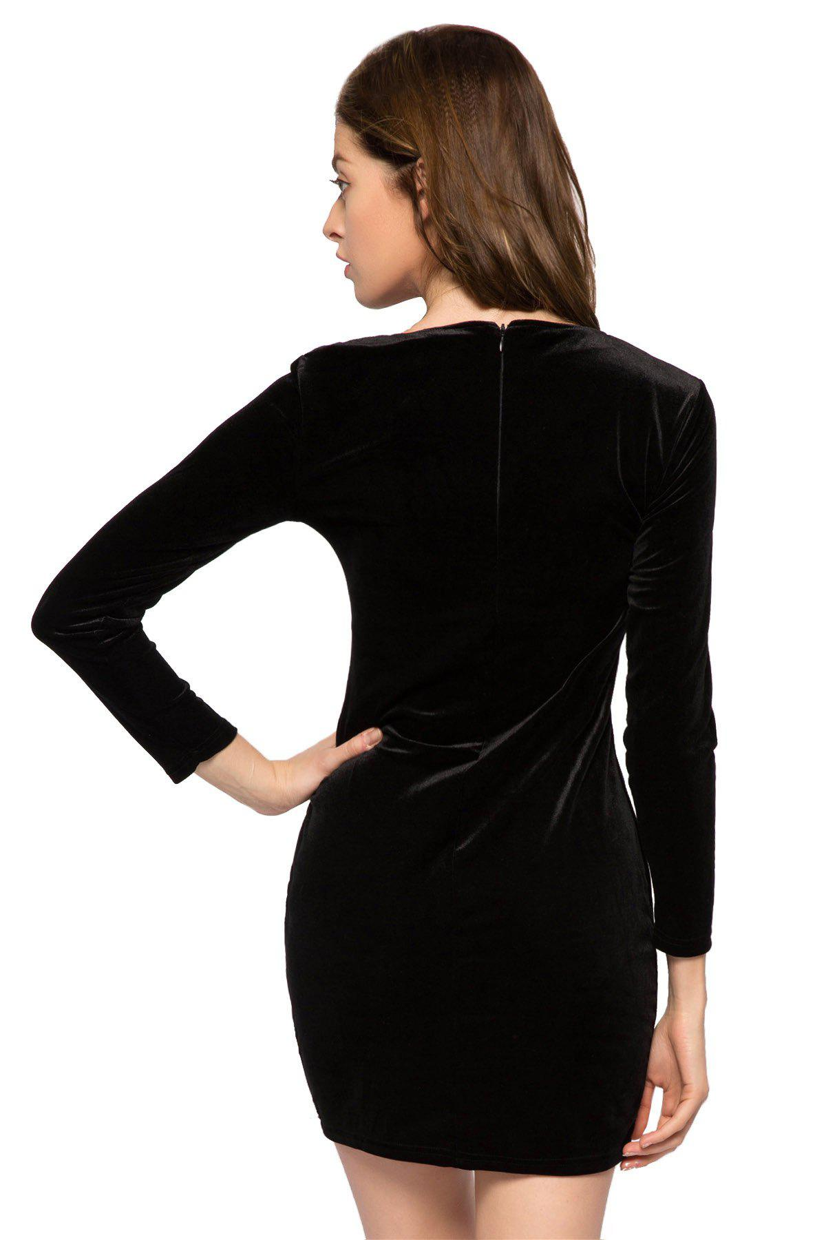 Stylish Jewel Neck Long Sleeve Kitten Embroidery Women's Bodycon Dress - BLACK L