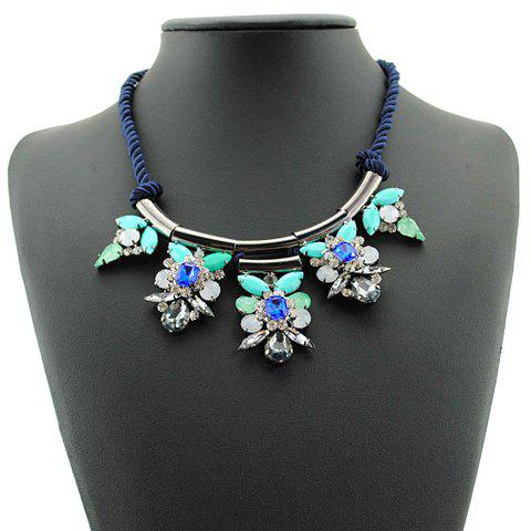 Fresh Women's Rhinestone Floral Design Necklace
