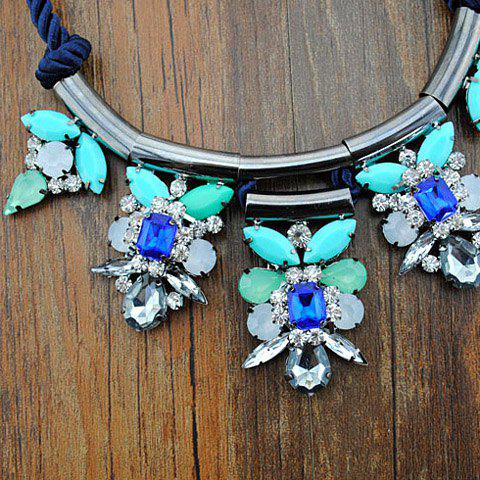 Sweet Fresh Women's Rhinestone Floral Design Necklace - BLUE