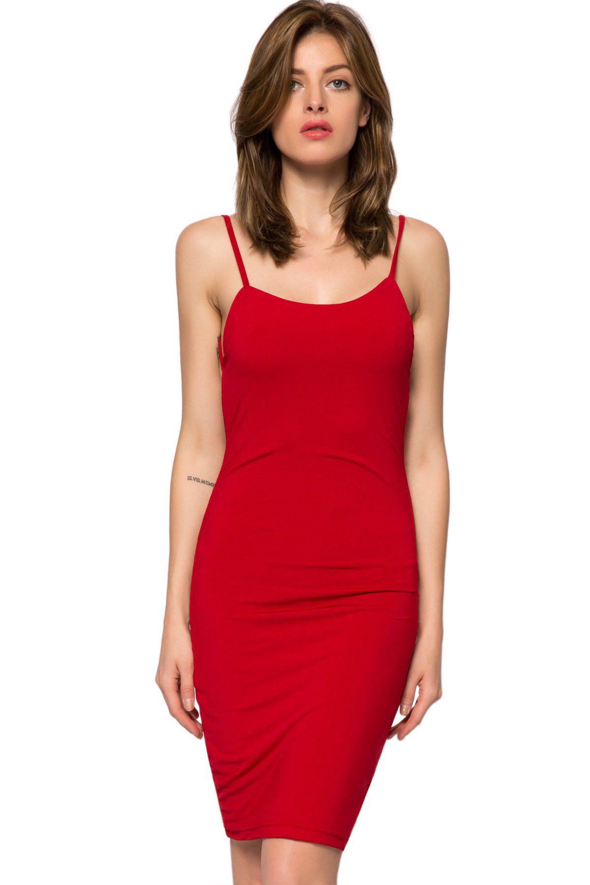 Sexy Style Spaghetti Straps Solid Color Backless Women's Bodycon Dress - RED L