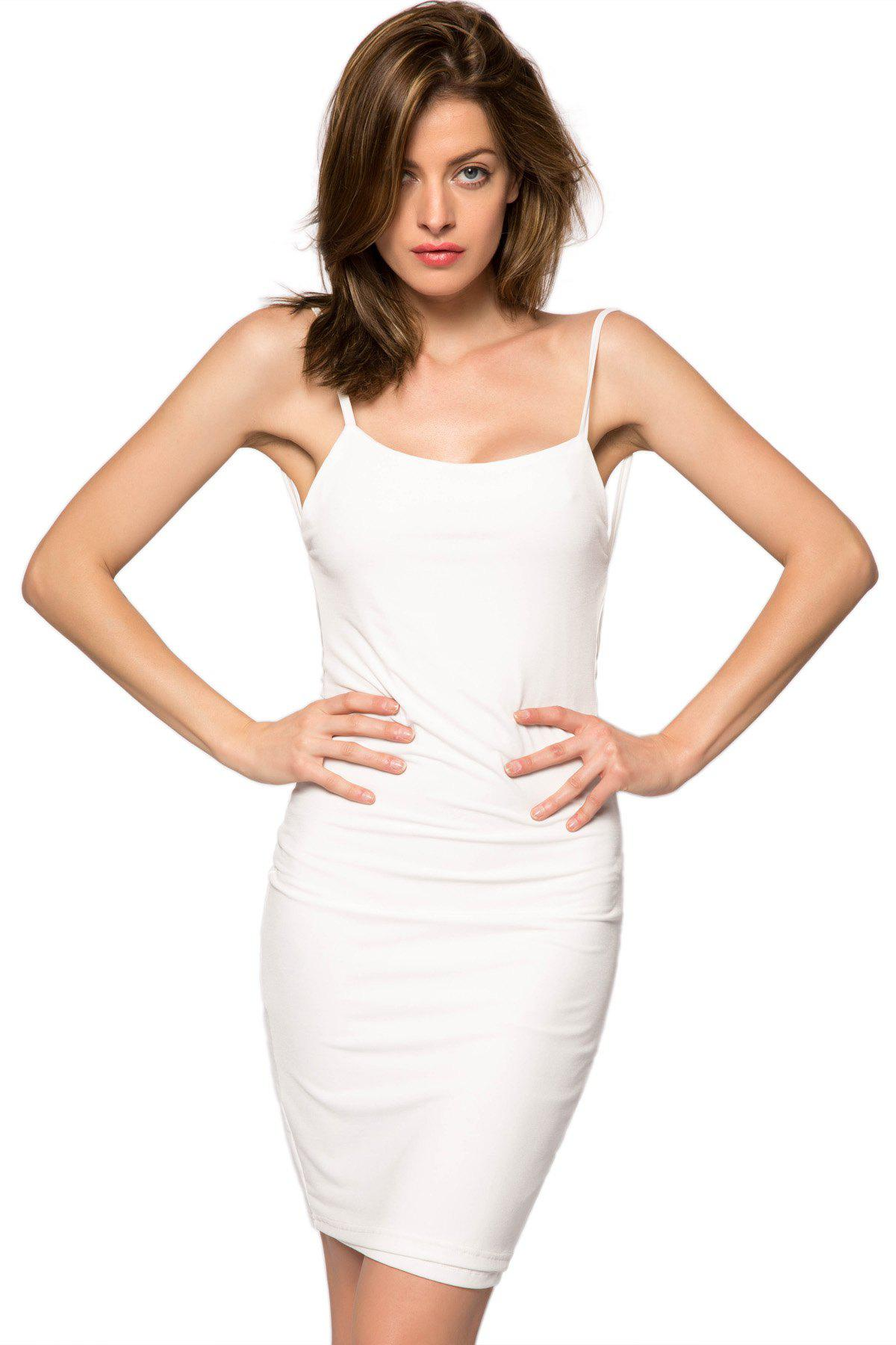 Sexy Style Spaghetti Straps Solid Color Backless Women's Bodycon Dress - WHITE S