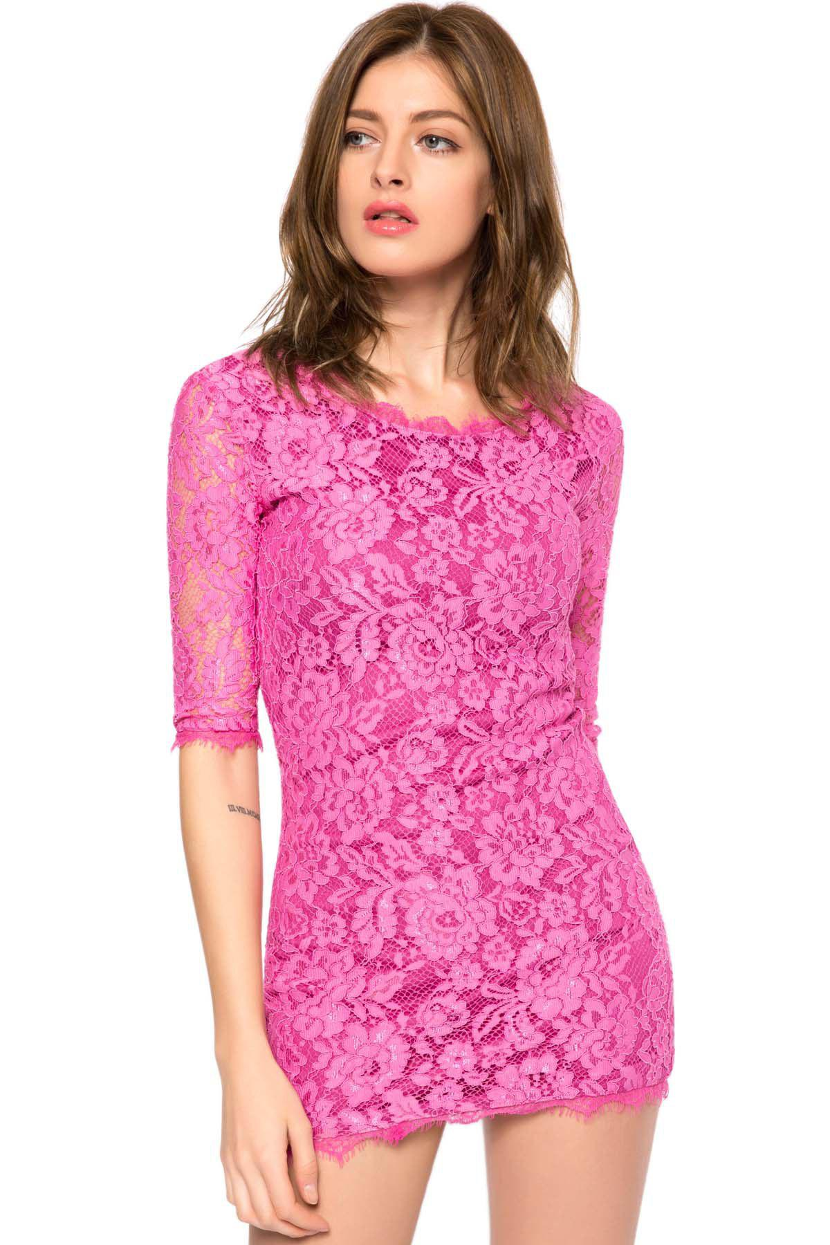 Trendy Style Scoop Collar 3/4 Sleeve Solid Color Slimming Women's Lace Dress - PURPLE M