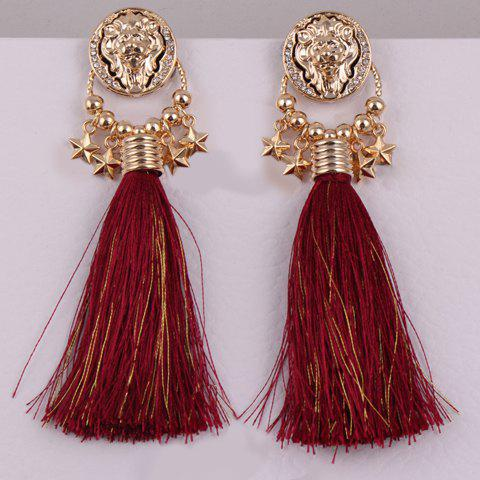 Pair of Beads Star Rope Tassel Earrings - COLOR ASSORTED