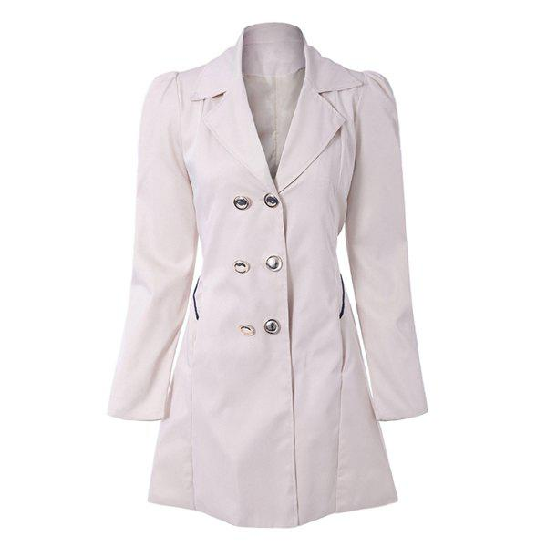 Fit and Flare Double Breasted Coat - S APRICOT