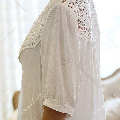 Half Sleeve Lace Splicing Blouse - WHITE ONE SIZE