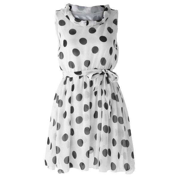 Women's Graceful Polka Dot Print Pleated Sleeveless Chiffon Dress - WHITE XL