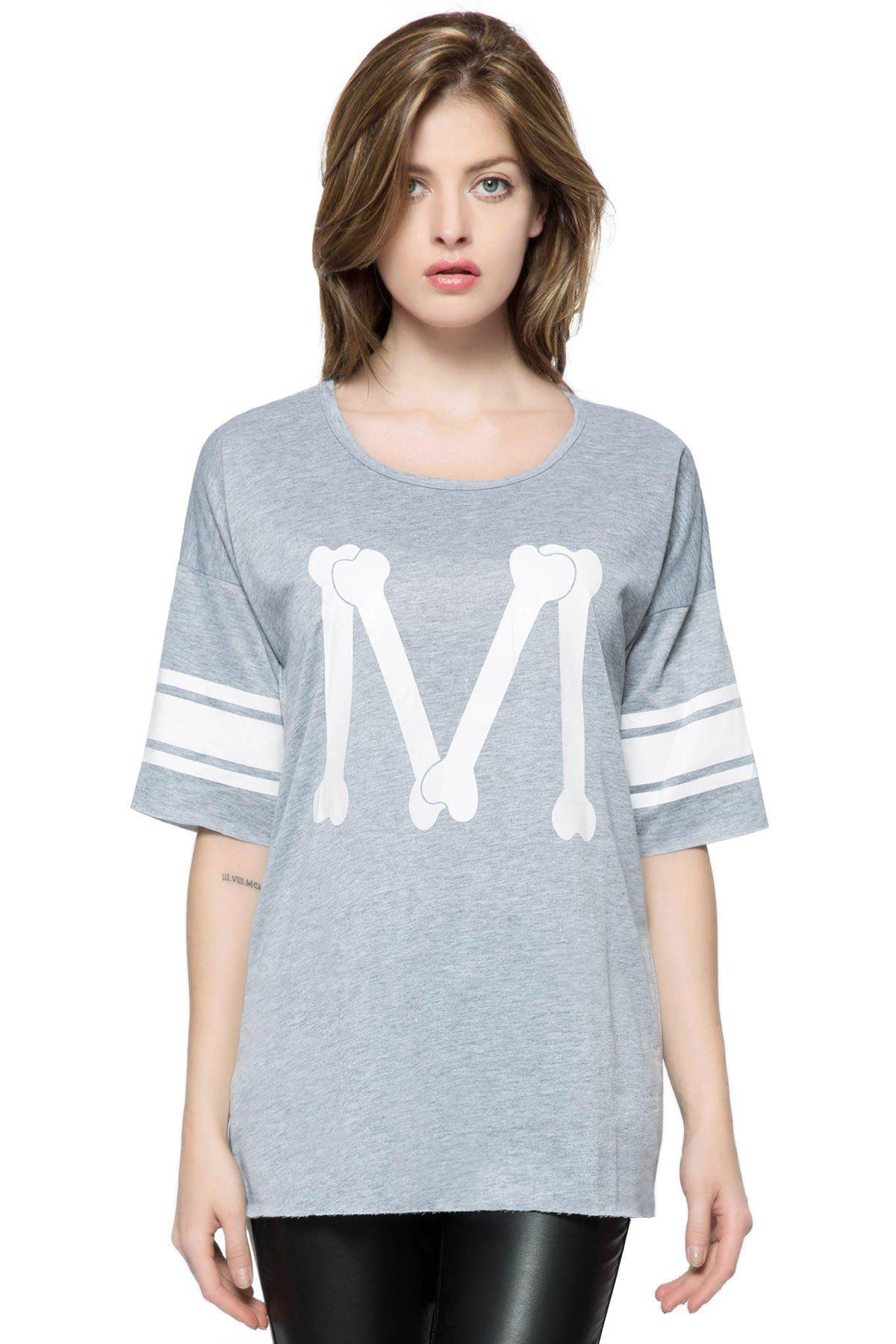 Casual Scoop Neck Loose-Fitting 3/4 Length Sleeve Printed T-shirt For Women - DEEP GRAY ONE SIZE
