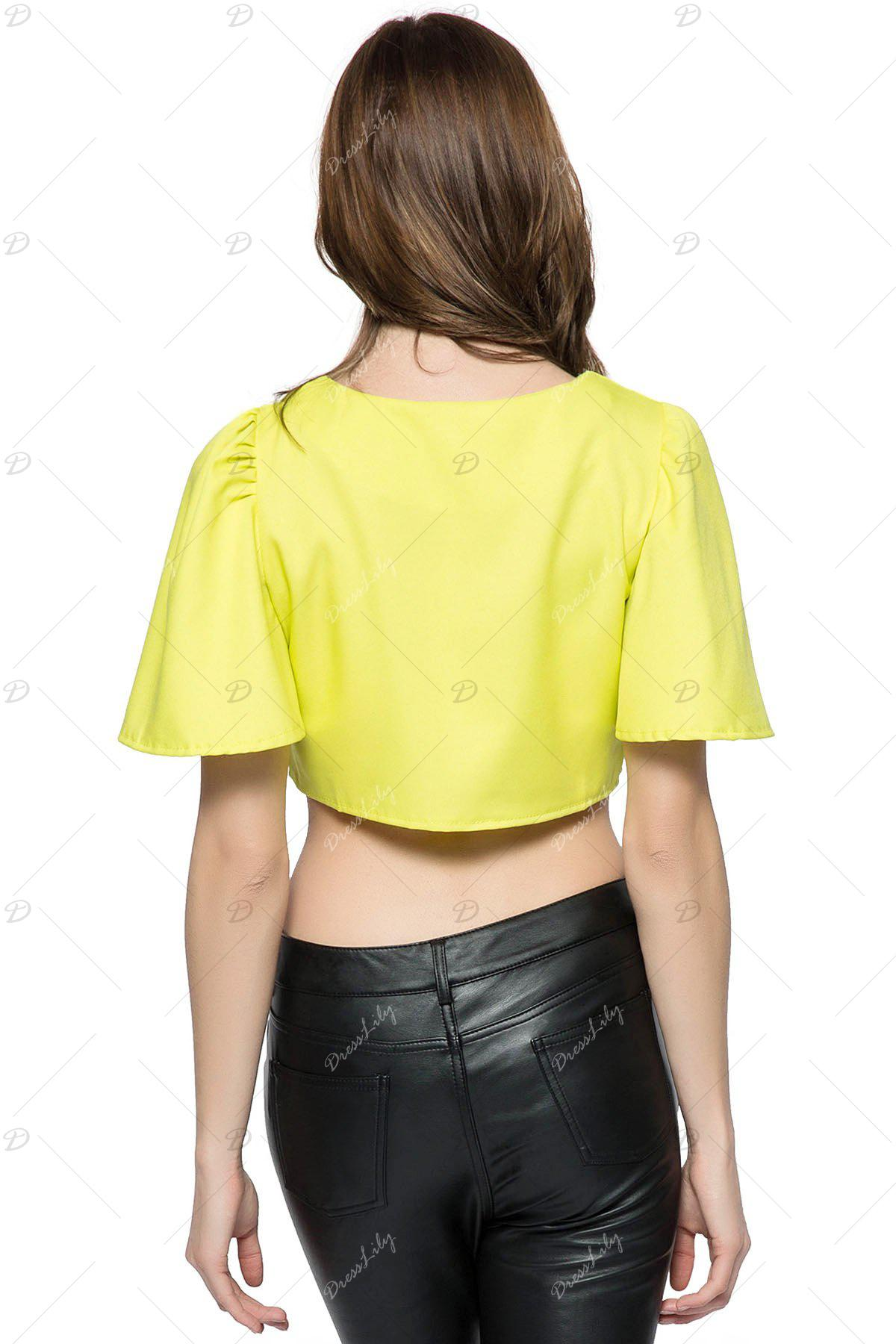 Women's Charming Ruffled Solid Color Flare Sleeve Round Collar Crop Top - YELLOW ONE SIZE