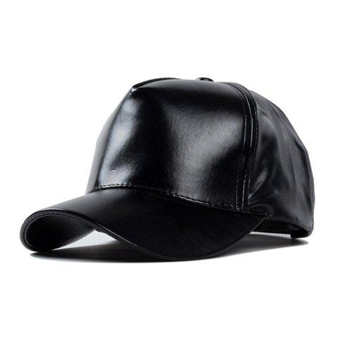 Chic Solid Color Women's PU Baseball Cap - Noir