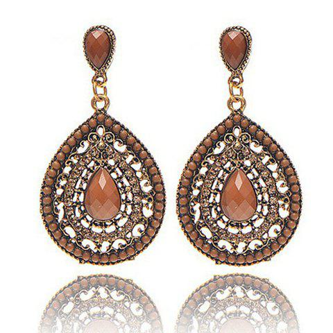 Pair of Retro Women's Rhinestone Beads Drop Pendant Earrings