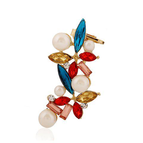 ONE PIECE Chic Stylish Women's Rhinestone Colored Faux Pearl Flower Earring - COLORFUL