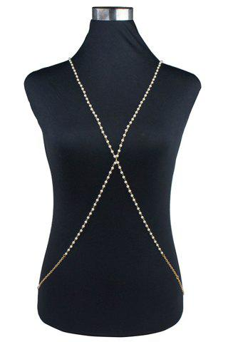 Stylish Chic Women's Crossed Link Body Chain - SILVER