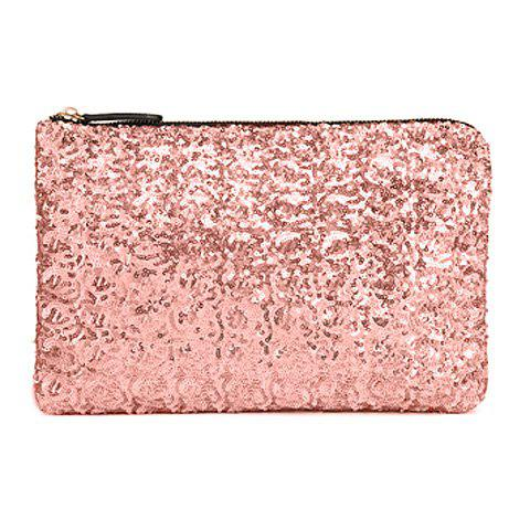 Trendy Sequins and Zip Design Clutch For Women - PINK