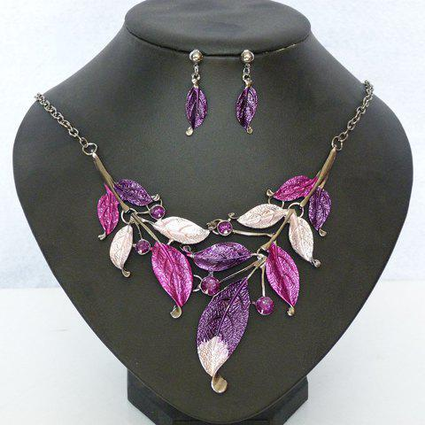 A Suit of Beads Embellished Leaf Necklace and Earrings - PURPLE