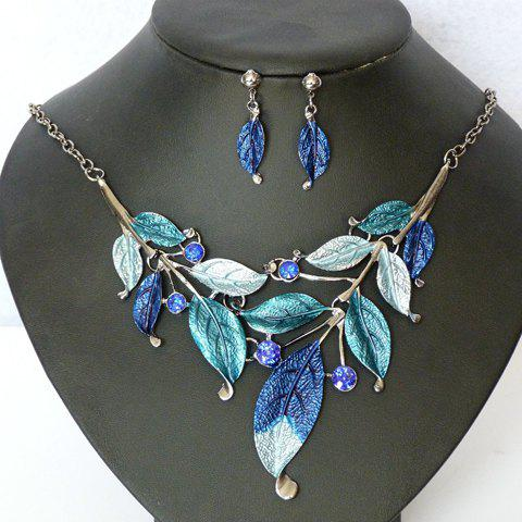 A Suit of Beads Embellished Leaf Necklace and Earrings - BLUE