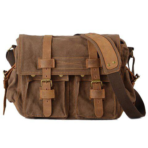 Retro Canvas and Belt Design Messenger Bag For Men - COFFEE