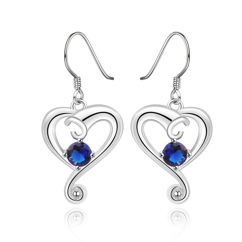 Pair of Zircon Embellished Heart Shape Drop Earrings - BLUE