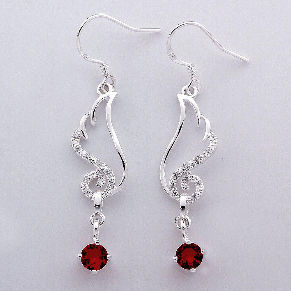 Pair of Chic Red Zircon Embellished Pendant Earrings - RED