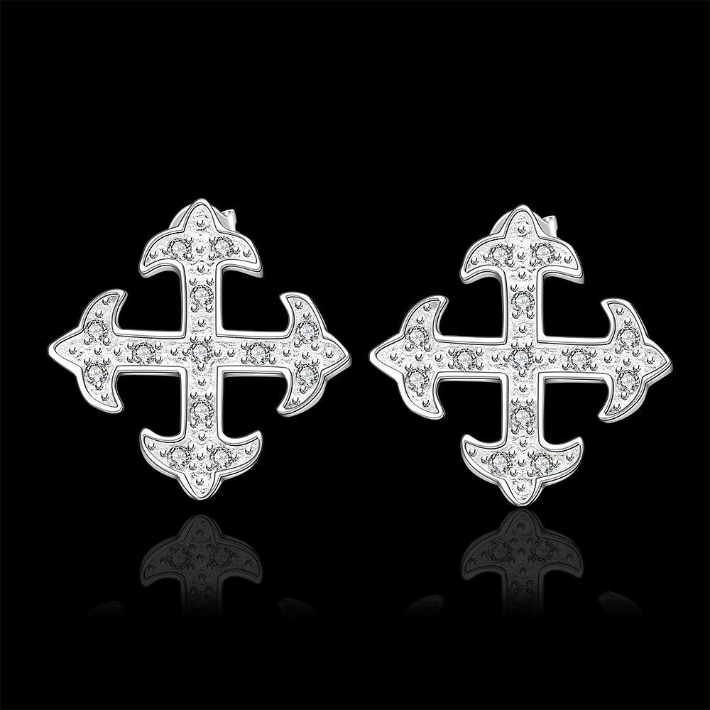 Sweet Rhinestone Embellished Cross Shape Earrings For Women - SILVER