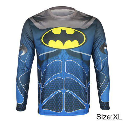 Arsuxeo Batman Style Thermal Transfer Cycling Jersey Bike Bicycle Running Long Sleeve Clothes for Male - BLUE XL