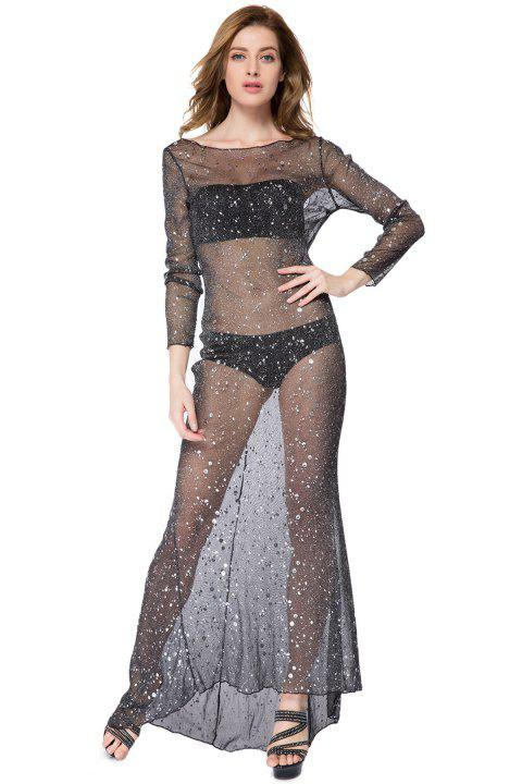 a58f4d04ec Sexy Round Collar Rhinestone Embellished Backless Long Sleeve Maxi Dress For  Women - BLACK L