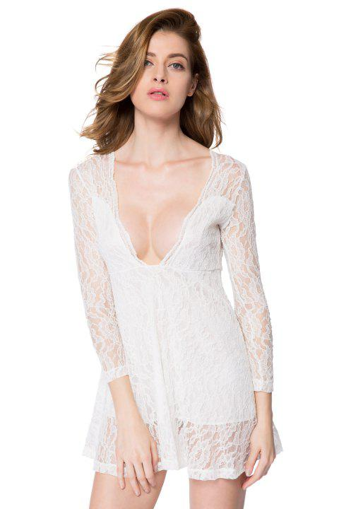 b1550f3e22a Sexy Long Sleeve Plunging Neckline A-Line Lace Dress For Women - WHITE M