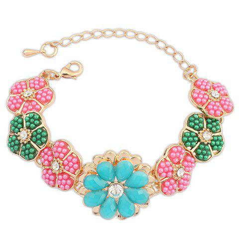 Rhinestone Flower Bracelet - COLORFUL