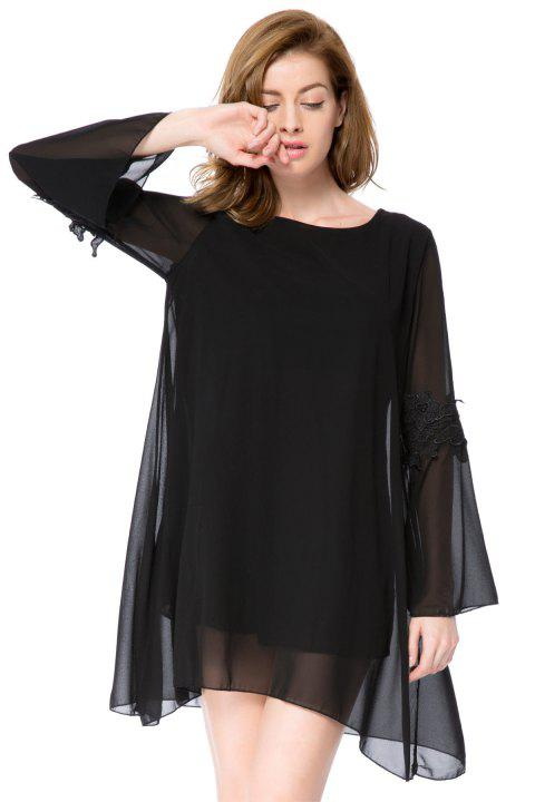 Simple Round Collar Long Sleeve Asymmetrical Solid Color Women's Dress - BLACK XL